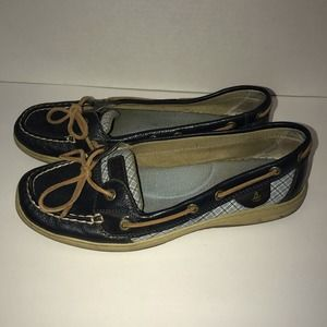 Sperry Top-Siders Navy Blue W/ Plaid Canvas Sz 10M